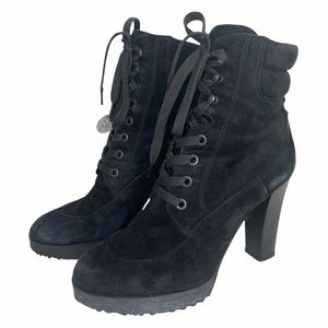 Hogan Italy black suede lace up combat boots heels